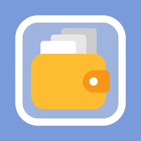 Wallet vector, purse containing money, flat style banknotes, finance earning collected in one place, isolated icon. Salary wages of person pocket Stock Illustratie