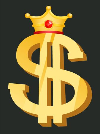 Dollar golden symbol with crown, currency logo. Element of casino, object of earn money, business success, money award with crownpiece, jackpot vector