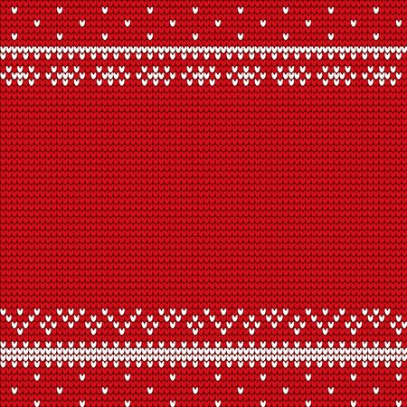 Christmas textile in red color with handicraft winter ornaments. Xmas wallpaper or cover with repeat lines in winter style. Traditional snowflake symbol on empty postcard, snowy knitwear lines vector
