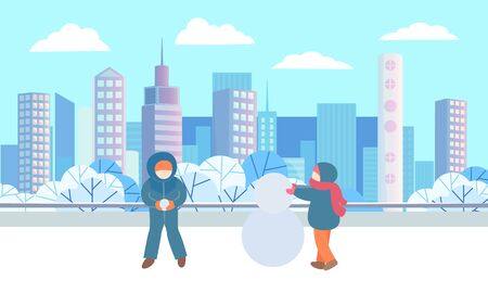 Children standing and playing together in winter urban park. Kids sculpting snowman from three different sized snowballs. Beautiful snowy landscape on background. Vector illustration in flat style Ilustração