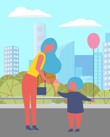 People in town vector, mother caring for child holding inflatable balloons for celebration of occasion. Cityscape and bushes of park, foliage nature environment. Urban view and citizen of city