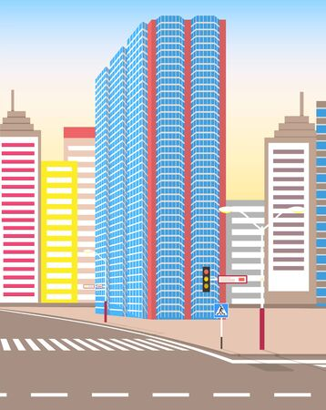 Town with buildings and empty street, 3d look of city road and houses. Sunshine cityscape. Skyline, crossroad with zebra. Cityscape with houses facades. Ubran landscape. Flat cartoon 일러스트