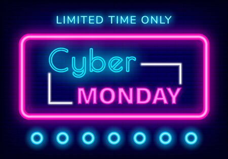 Cyber monday sale vector, neon sign glowing elements. Discount limited time only proposition of shop for clients. Shopping on holiday, clearance and proposals of stores. Ads flat style illustration