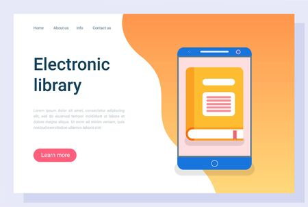 Book in tablet, library or information online, e-book sign. Touchscreen device, e-learning literature, reading equipment, communication vector. Website or webpage flat style, landing page template 일러스트