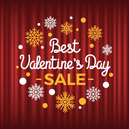 Discounts on holiday of st valentines day vector, promotion and clearance. Sale and propositions snowflakes bokeh selling goods advertisement red curtain