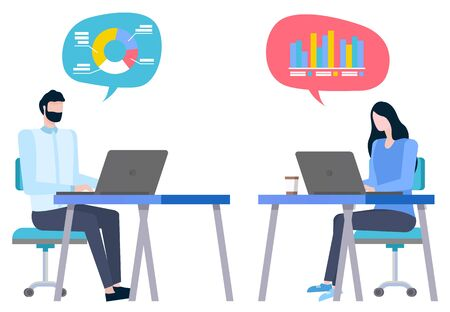 Brokers collaboration, man and woman sitting at computers thinking about statistical graphs and charts. Vector cartoon style workers sell and buy goods online