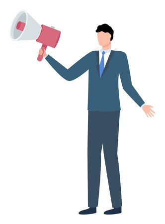 Man in suit with loud speaker isolated cartoon character. Vector businessman in tie, jacket and trousers speaking into megaphone. Reproducer and male person 일러스트