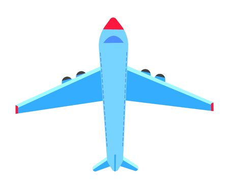 Plane decoration element, flying object in flat design style, blue airbus, business technology, transportation and tourism sign, flight icon, model vector  イラスト・ベクター素材