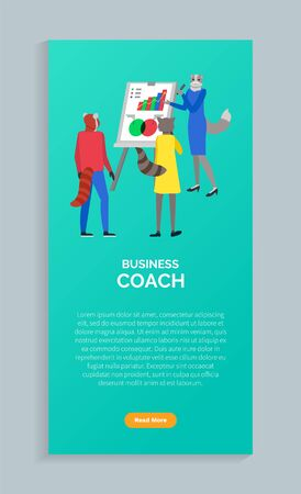 Business coach, woman cats heads and tails. Teamwork, successful startup with group. Coworkers, innovative product planning of company strategy. Website or webpage template, landing page flat style 일러스트