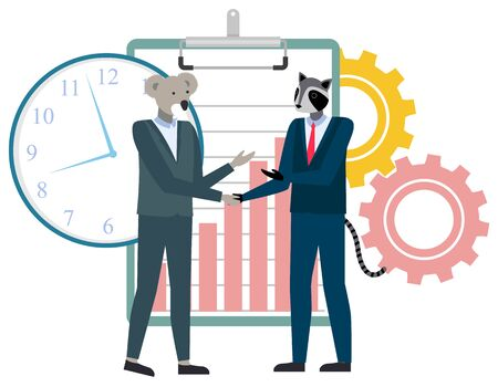 Cartoon animals businessman shaking hands. Agreement or greeting concept. Koala and raccoon in suits. Clipboard with rising chart. Clock vector illustration 일러스트