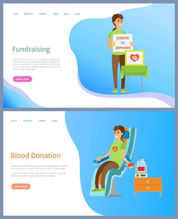 Fundraising and blood donation vector, people volunteering and helping, social workers with table asking for financial aid, male in hospital. Website or slider app, landing page flat style