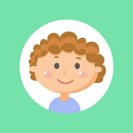 Friendly boy vector, isolated kid in frame in shape of circle. Child with smile on face, smiling kiddo wearing blue shirt. Schoolboy with glowing cheeks