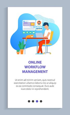 Man worker using laptop, workplace with cat, freelancer sitting on chair with wireless device on desktop, interface of board, technology vector. Website slider app template, landing page flat style