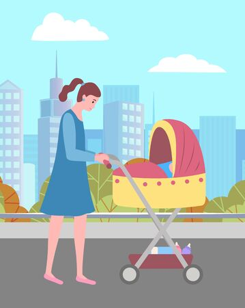 Mother walking with infant outdoor, female going with stroller near urban park. Parent with baby outdoor, skyscraper view, motherhood or parenting vector