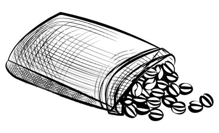 Full sack of coffee beans, drawing roasted grains in june bag in black color. Sketch of arabic seeds, ingredient of cappuccino or latte drink vector