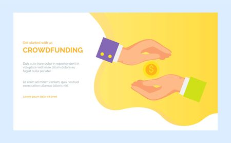 Bank or investment online, keeping cash or payment. Coin and hand flat design style, arm with sleeve holding money, crowdfunding app vector. Yellow website or webpage template, landing page flat style
