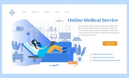 Woman patient lying in hospital or at home using laptop, doctor online. Person with dropper, communication with laptop and treatment, healthcare app vector Illustration