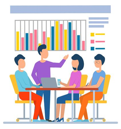 People communication with laptop, man and woman sitting at desktop. Portrait view of workers discussing board with graph report, teamwork in office vector 일러스트