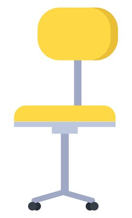 Yellow office, computer or desk chair isolated on white background. Swivel or revolving furniture with single central metal leg and small wheeled legs. Vector cartoon illustration in flat style