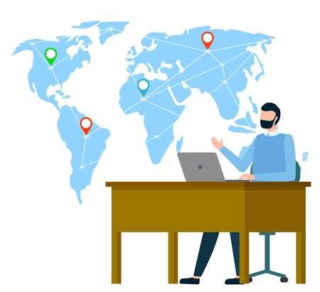 Map of world with geotags vector, location pointers on global representation flat style international business. Businessman sitting by table working on laptop, coder support worldwide management