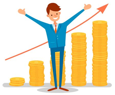 Successful businessman wearing blue suit with red tie standing in front of growing red graph. Arrow going up, expected profits, investment financial concept