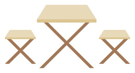 Furniture outside vector, isolated bench and table made of wood. Square shape of design, objects of eatery for clients to sit, dining place flat style