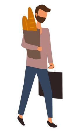 Man with freshly baked bread in hands vector, isolated character returning home from market flat style. Male at supermarket husband with packages