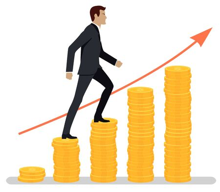 Man wearing formal suit vector, isolated male businessman walking up chart made of money. Gold coins and arrowhead, success and achievement flat style Illusztráció