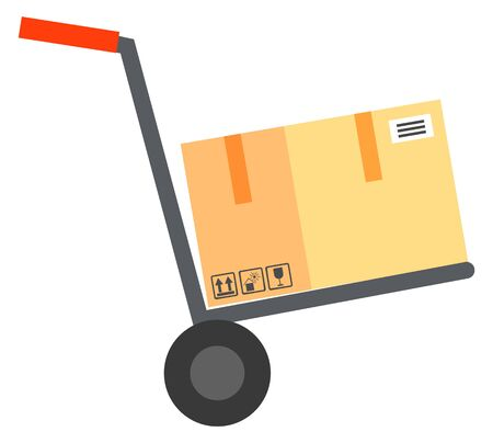 Shipping of order vector, isolated trolley with wheels and box with emblems. Fragile cargo delivery of object, packaging container on cart with handle illustration in flat style design for web, print Ilustrace