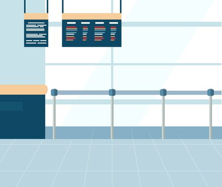 Airport terminal interior, ticket office with metal barrier fence. Checkpoint with information board. Panoramic windows. Air traveling vector illustration