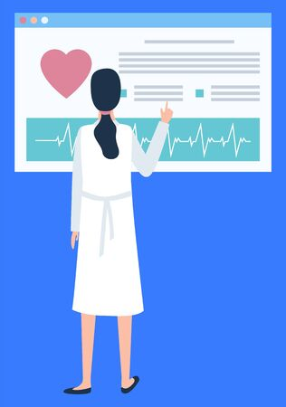 Woman nurse with screen scanning persons heart rate vector, technologies in medicine. Medical worker in hospital, telemedicine online help for patient