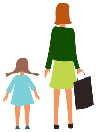 Mother and daughter back view isolated cartoon people. Vector mom and girl with pigtails, happy family at marketplace. Kindergarten child and adult woman