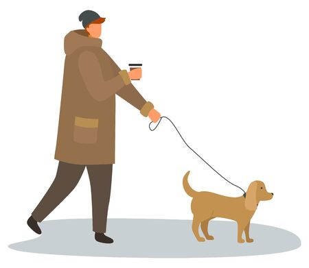 Character walking dog on leash vector, isolated male holding cup of coffee. Male drinking tea from plastic cup, autumn weekends. Personage wearing hat and warm jacket, canine care and relaxation 일러스트