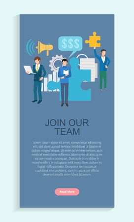 Join our team app slider, worker communication with laptop, teamwork development of finance. Loudspeaker and paper icon, employer strategy, business vector. Webpage or landing page template flat style
