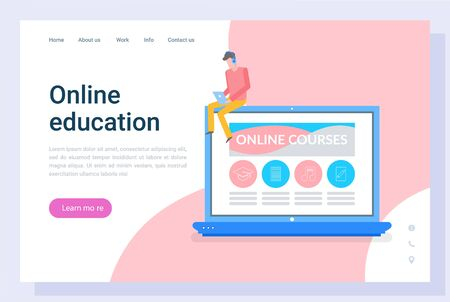 Person communication with laptop, work or courses. Online education in computer, distance information, e-learning or webinar, knowledge vector. Landing page and website flat style, webpage template 向量圖像