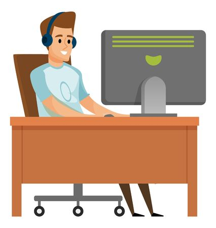 Male wearing headset using computer, man communication with pc, portrait view of smiling person character in casual clothes, sitting at table, hobby vector