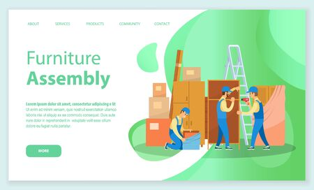 Furniture assembly vector, workers busy with installing items bought from shop. Service for people moving in, ladder and chest of drawers. Website or webpage template, landing page flat style