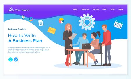 How to write business plan app slider decorated by workers characters communication with computer. Employees cooperation creative idea, laptop vector. Webpage or webslide template in flat design style