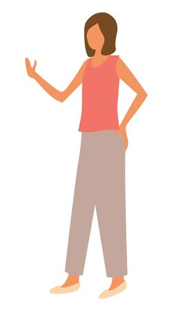 Woman in red sleeveless shirt and trousers side view. Vector cartoon female at marketplace, business lady pointing on something by hand while talking Ilustracja