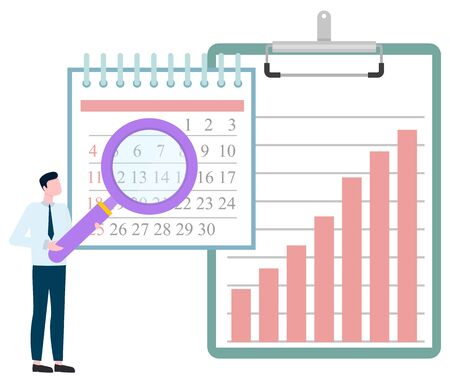 Man investigating calendar by magnifying glass, big clipboard with graphs and charts, join to our team. Vector male with loupe and statistical data analyzing Banque d'images - 133438662