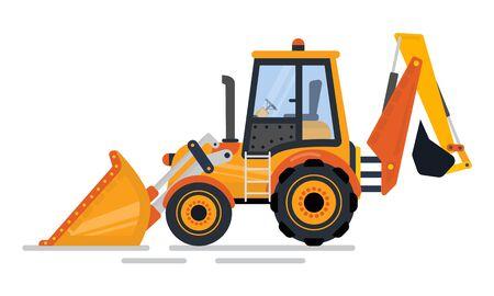 Chargeuse-pelleteuse, vue latérale de la pelle, véhicule avec grandes roues et lame. Équipement de construction de tracteur, excavatrice, vecteur de transport de pelle rétrocaveuse