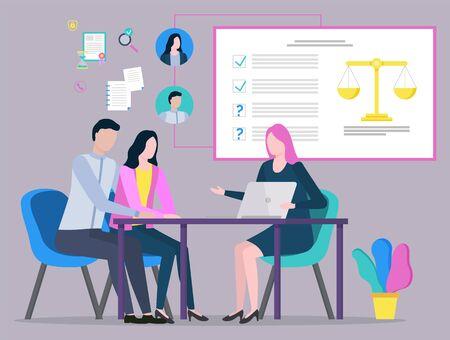 Abogado discutiendo con clientes, consulta con jueces, asesoría legal, plan de estrategia. Comunicación de personas con laptop, legislación y papeleo. Ilustración de vector