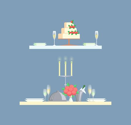 Table for two serving with big wedding cake, ceramic plates and filled with champagne glasses. Board decorated by roses and glowing candles vector