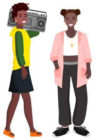 Teen girls afro woman vector, isolated characters with boombox. Stylish personage wearing sweater and wide pants, hairstyle of female smiling stereo system Illustration