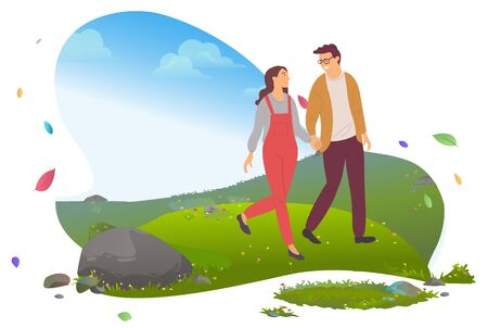Couple in love traveling, man and woman walking in mountains vector. Guy and girl, tourism or trip, boyfriend and girlfriend, hiking and dating, nature Ilustracja