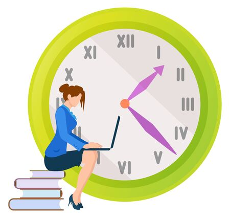 Female character worker vector, lady sitting on books publication looking at laptop screen. Clock with deadline, project management control of work Illusztráció