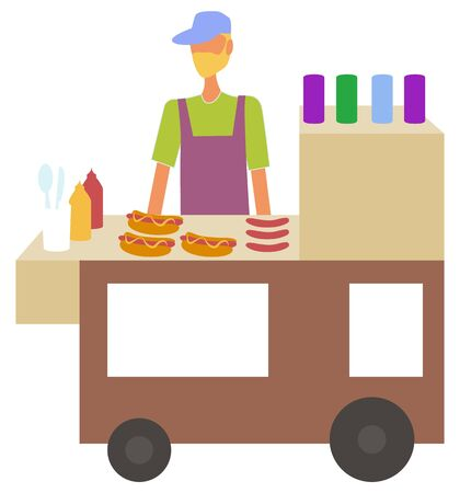 Man selling hot dogs in kiosk at street vector, isolated character with bun and sausage. Cooking male with ketchup and mustard, service eatery or diner Ilustrace