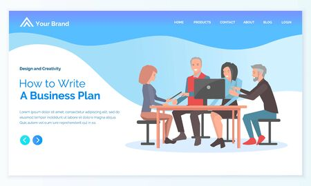 Man and woman discussing how to write business plan. Developer using laptop, leadership strategy, employee with computer, workplace vector. Webpage or app slider in flat design style, landing page