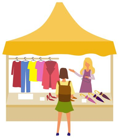Woman buying clothes from market store vector, isolated salesperson showing fabric and production. Clothing and accessories dresses and jackets umbrella Ilustracja