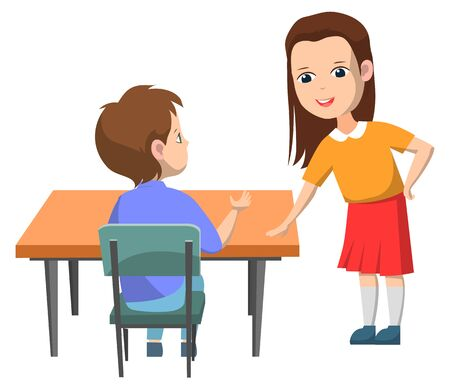 Students vector, isolated boy and girl talking on break. Female character wearing uniform skirt socks, male sitting by desk answering question, back to school concept. Flat cartoon Ilustrace